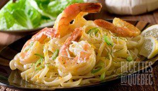 Linguines aux crevettes, sauce à la crème d'ail