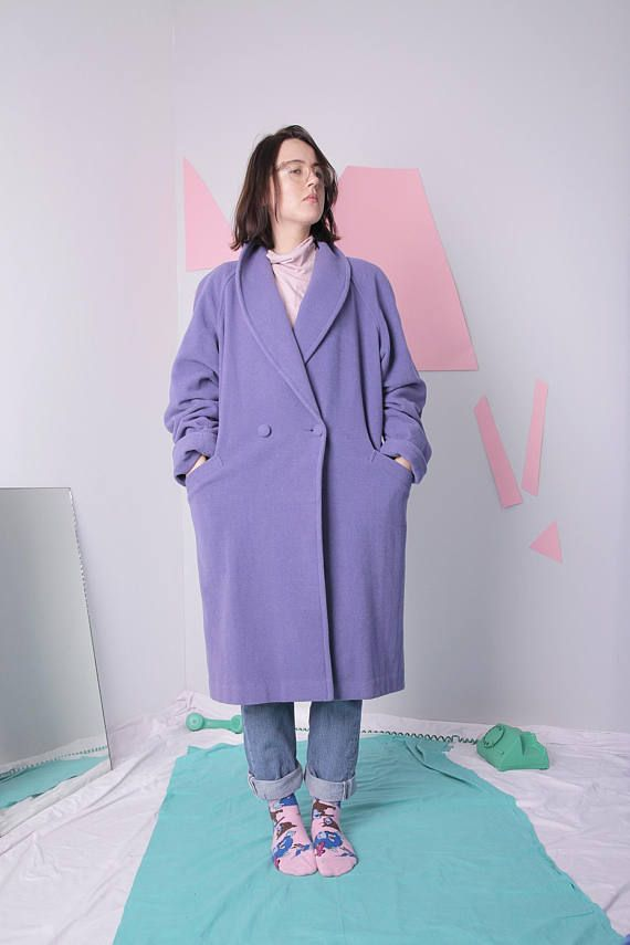 minimal wool coat size 38 midi double breasted coat lavender