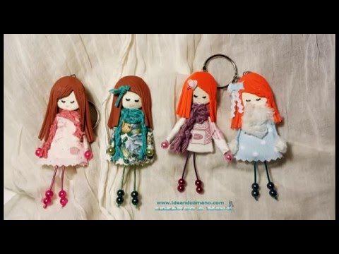 Broches de muñecas, en este vídeo podréis ver todos los pasos para hacer esta muñeca para broche. La podemos enganchar a los jersey, pañuelos, bolsos, mochil...