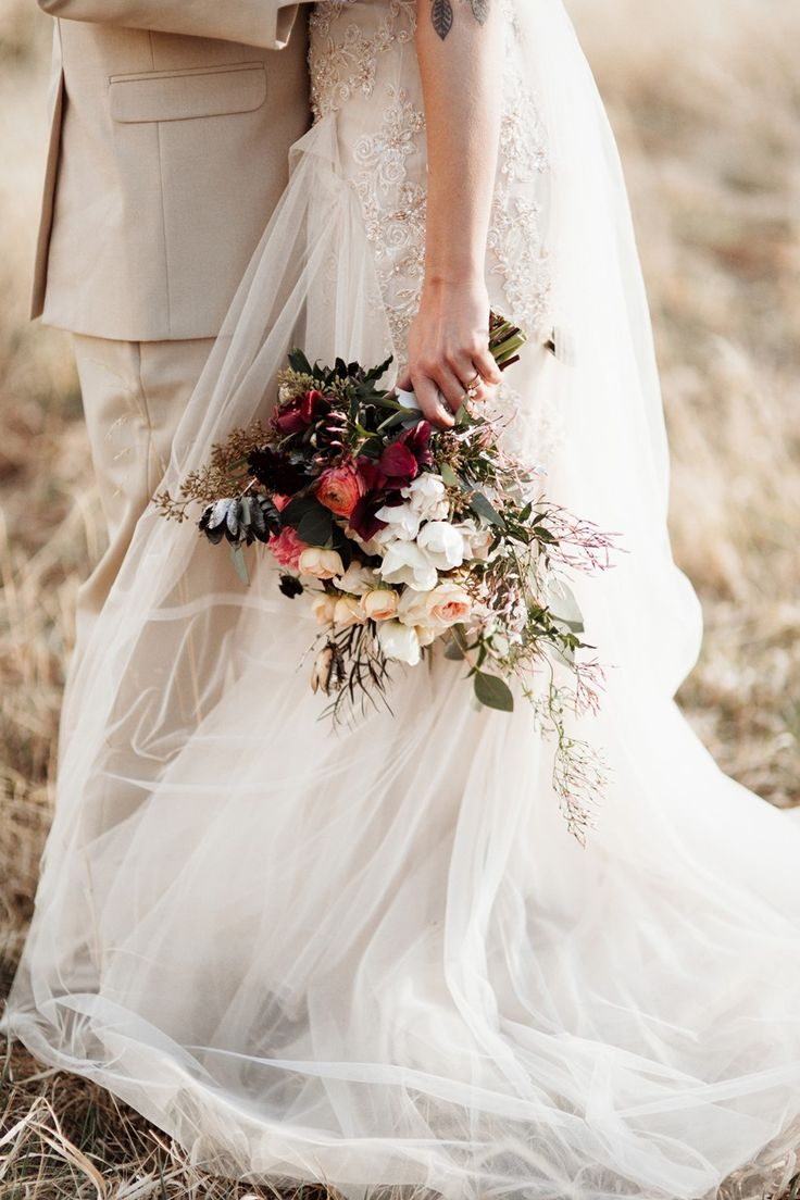 Red just picked bridal bouquet // Photography ~ Elizabeth Wells Photography