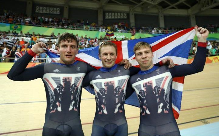 Callum Skinner, Jason Kenny and Philip Hindes of Great Britain celebrate…