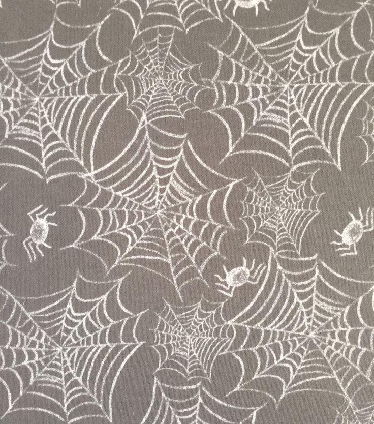 Doodles Halloween Interlock Cotton Fabric 57\u0022-Webs & Spiders,