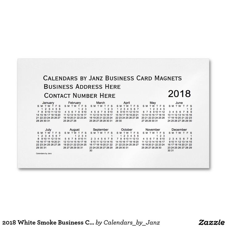 2018 White Smoke Business Calendar by Janz Magnet Magnetic