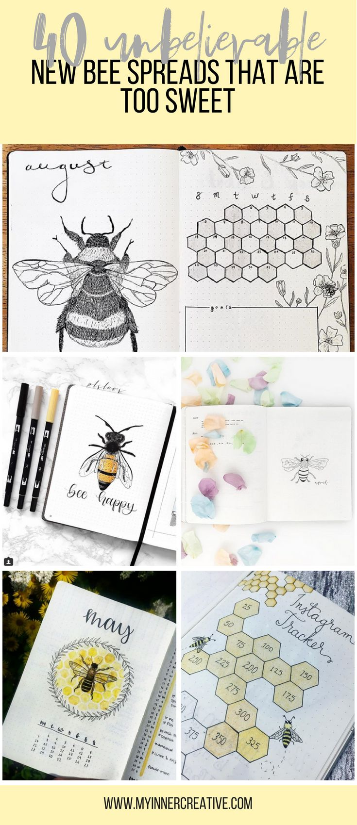 20 More Stunning bee and honey bullet journal spreads   My Inner ...