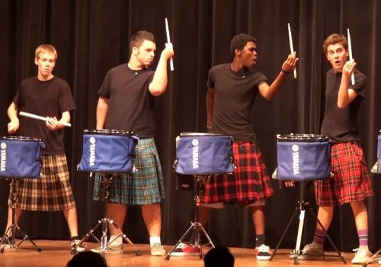 amazing! high school talent show 'hot scots drumline'.....cool as hell