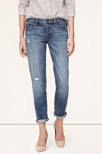 Ann Taylor Loft Boyfriend Jeans in Vast Blue Wash
