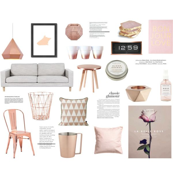 Rose & rose gold by rheeee on Polyvore featuring interior, interiors, interior design, home, home decor, interior decorating, Zuo, CB2, ferm LIVING and Americanflat