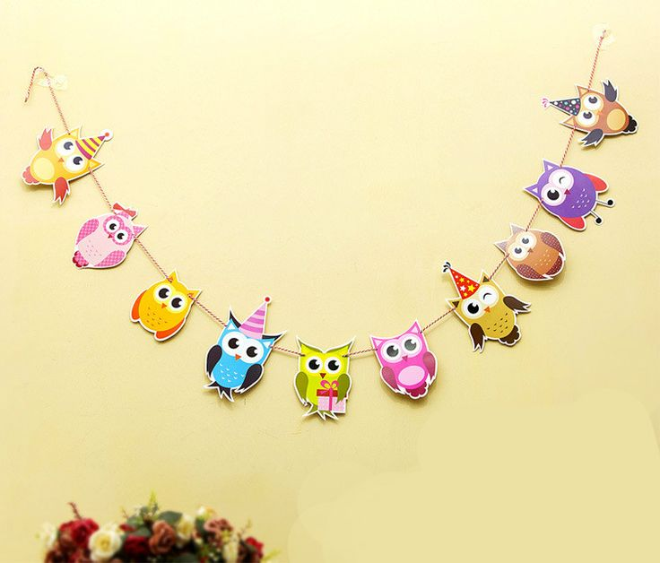 The Owl Garland Kids Birthday Banners Party Decorations Baby Showers Children Room Crafts Cartoon Animal Hanging Supplies GYH on Aliexpress.com | Alibaba Group