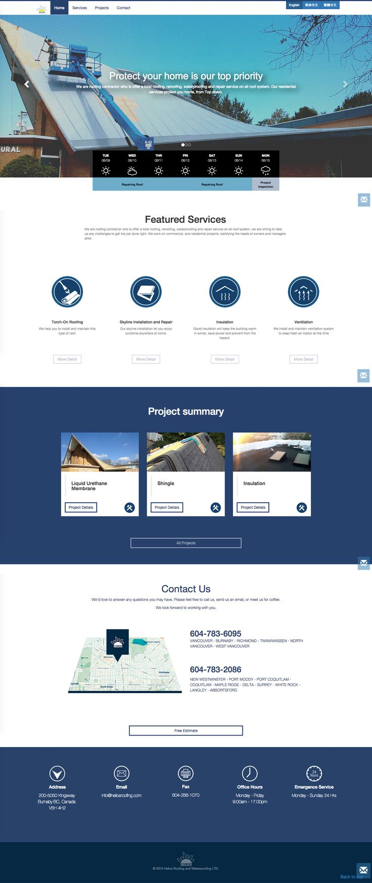 Roofing, Web design, Flat design, navy blue theme, one color web design, one…