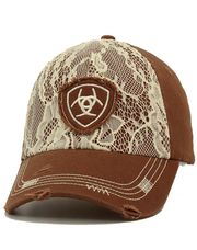 ARIAT WOMENS DISTRESSED CAP WITH LACE AND EMBROIDERED LOGO