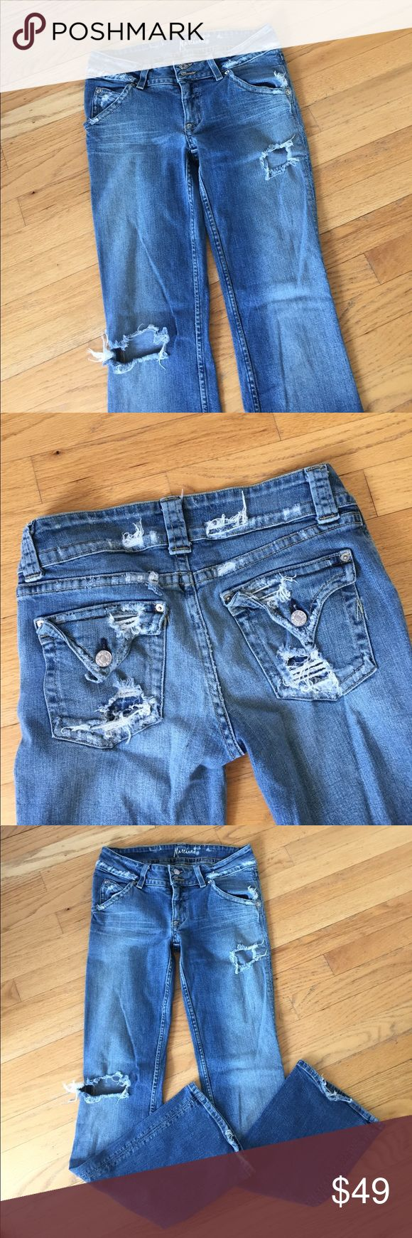 Guess Marciano Distressed Jeans Distressed Guess jeans with button back pockets. Size 31 inseam 33. Guess by Marciano Jeans