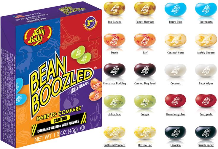 Bean Boozled Jelly Beans- When you eat these, there is a 50% chance they taste good or bad. I love this game.