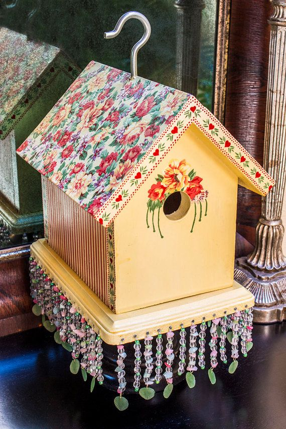 Hand Painted Rose Birdhouse, Handpainted Floral Bird House