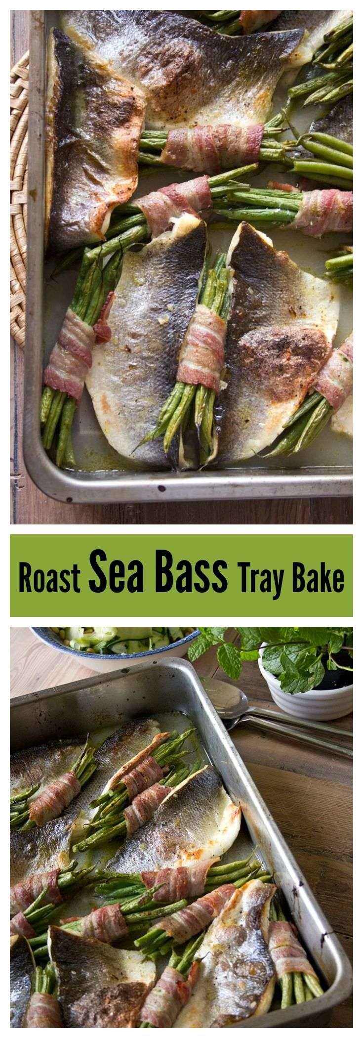 Get some Omega 3 in you with this quick, light and impressive-looking dish. Roast sea bass traybake with bacon-wrapped beans, guys!