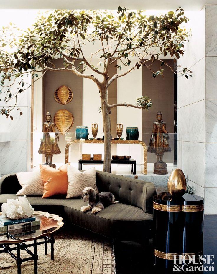 2 Top Designers Decorate One Amazing Home//Kelly Wearstler, indoor tree, calcite, tortoise shells