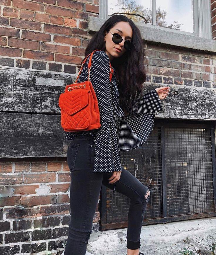 • Orange Velvet Quilted Backpack•