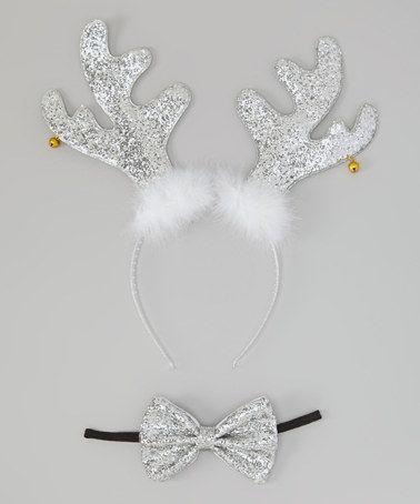 Look what I found on #zulily! Silver Reindeer Headband & Bow Headband #zulilyfinds