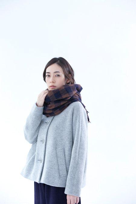 hobonichi+a. ストール(紺☓茶ギンガム) Stall(Navy blue/brown Gingham)  2014-2015 aw