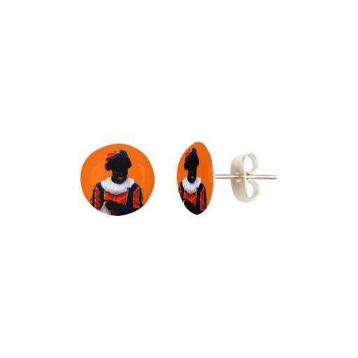 Oorknopjes Oranje met Zwarte Piet