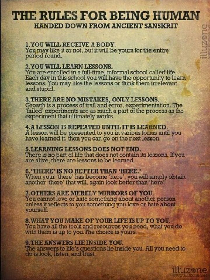 10 rules for being human - from ancient sanskrit - loved & pinned by www.omved.com