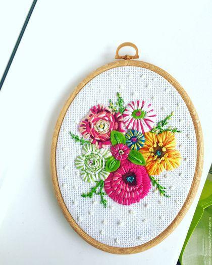Картины цветов ручной работы. Ярмарка Мастеров - ручная работа. Купить Вышивка мулине Букет цветов. Handmade. Вышивка