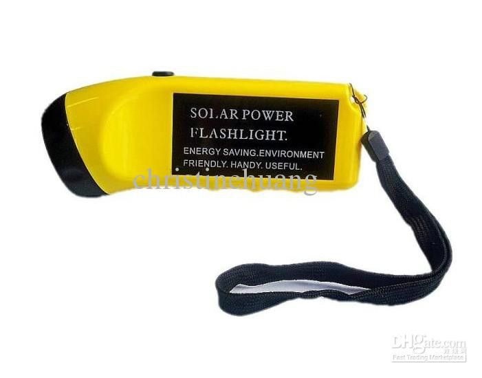 Yellow NEW Handy Solar Rechargeable LED Flashlight Torch Emergency for Camping Hunting