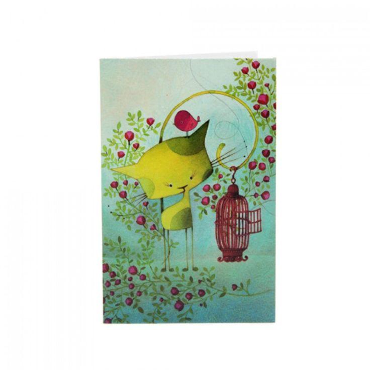 Mini-Carte Oiseau en Cavale KETTO Mini Card Bird on the Run // Sans inscription. // Blank. // #MiniCarte #MiniCard #Ketto