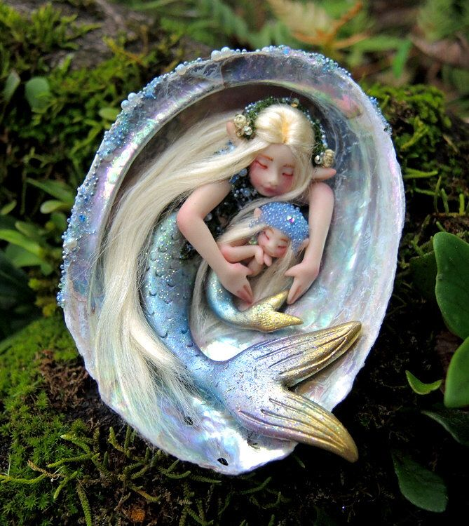 Made to Order || Mother and Baby Mermaid Abalone Faeries || Celia Anne Harris || OOAK by scarletsbones on Etsy https://www.etsy.com/listing/292177985/made-to-order-mother-and-baby-mermaid