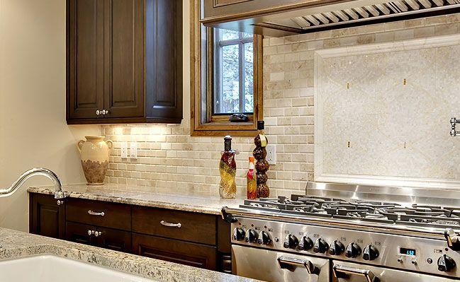 ivory polished bevel edge subway travertine tile with medallion. | 2014  kitchen tile | Pinterest | Home remodelinu2026