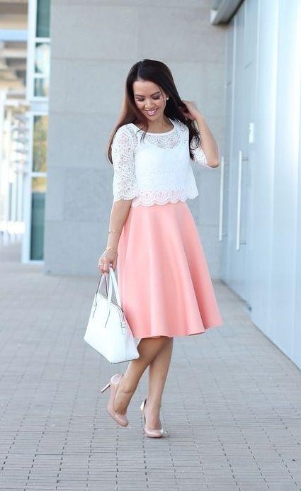 Peach and white
