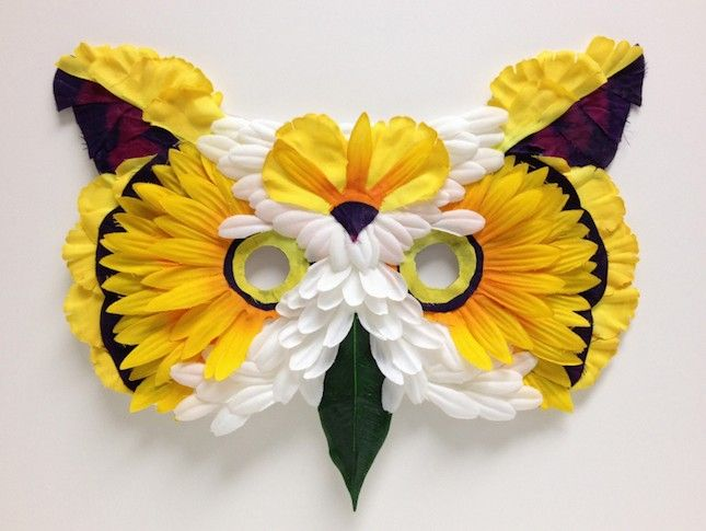 Use faux flowers to DIY this pretty owl mask.