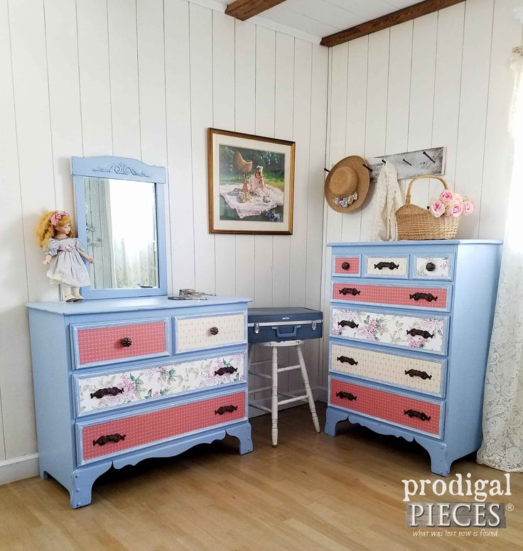 Vintage Girls Bedroom Set Makeover with Paper, Pulls, and Paint by Prodigal Pieces   prodigalpieces.com