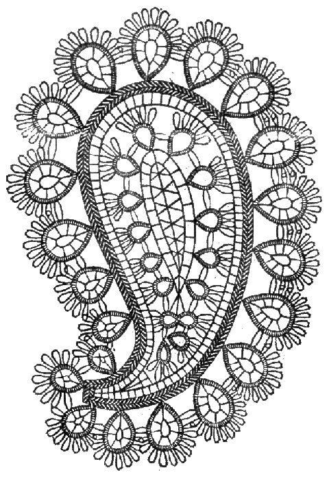 Paisley tatting pattern.   Victoria - Palm, ©2000 Dan Rusch-Fischer