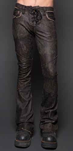 Style #M98-009blk: Mens Rocker Fit Leather Lace Up Pants