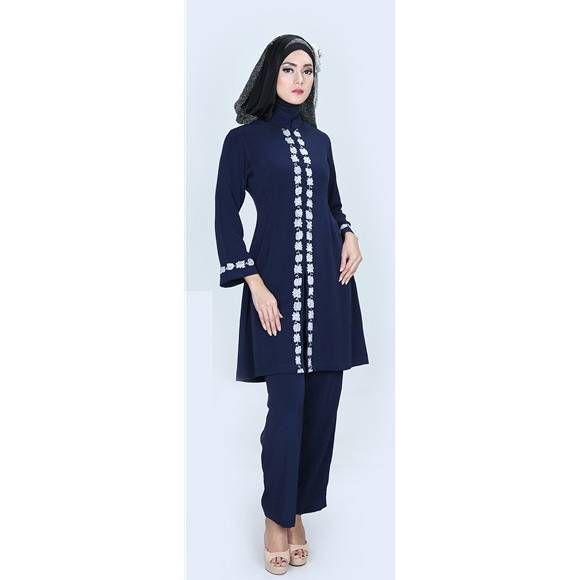 Baju tunik modern 2016 - Model baju tunik modern terbaru warna biru cantik dan elegan. Trend harga jual baju tunik muslim 2016 murah grosir online shop...
