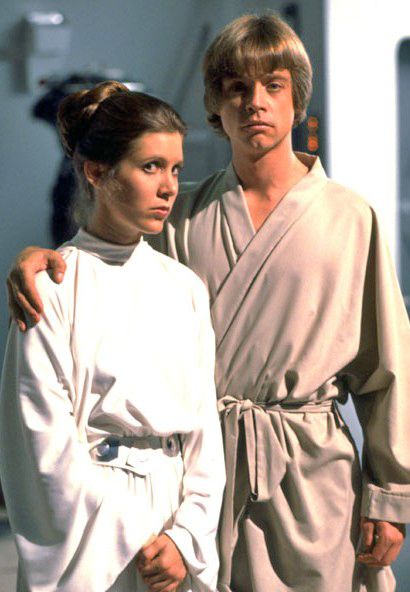 Carrie Fisher and Mark Hamill as Leia and Luke @ the end of Star Wars V: The Empire Strikes Back