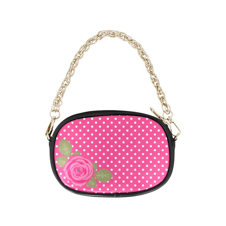 White Pink Polka Dots Pink Rose Floral Pattern Chain Purse (Model 1626)  Our New Pink Rose Flower on Pink Polka Dots Design Bags. ❤ Tote Bags, Handbags, Crossbody Bags, Messenger Bags, Over the Shoulder Bags,  Saddle Bags, Purses, Clutch Bags, Drawstring