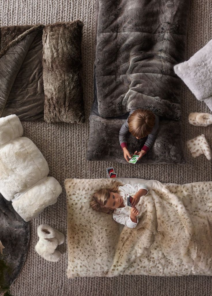 keep floor-crashers warm and cozy with snuggly faux fur sleeping bags. #rhbabyandchild