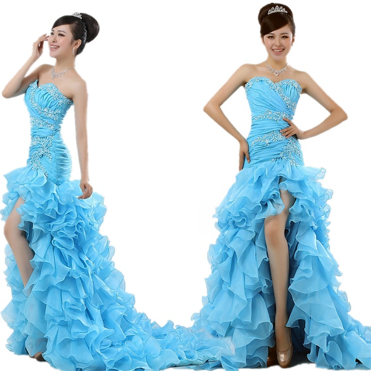 Fashion 2012 Hi-lo Sweetheart Organza Formal Prom Party evening dresses long design short trailing fish tail on AliExpress.com. $119.00