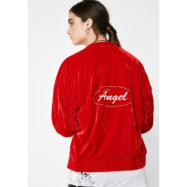 Angel Velvet Red Bomber Jacket (3.745 RUB) found on Polyvore featuring women's fashion, outerwear, jackets, red, red bomber jacket, red velvet jacket, flight jackets, bomber style jacket and velvet jacket