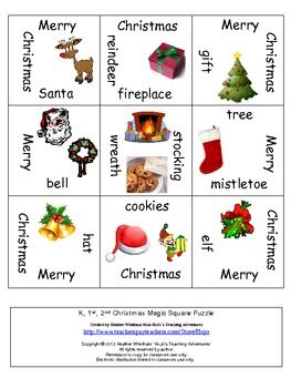 FREE Christmas Magic Square puzzle - great for working with Christmas vocabulary!