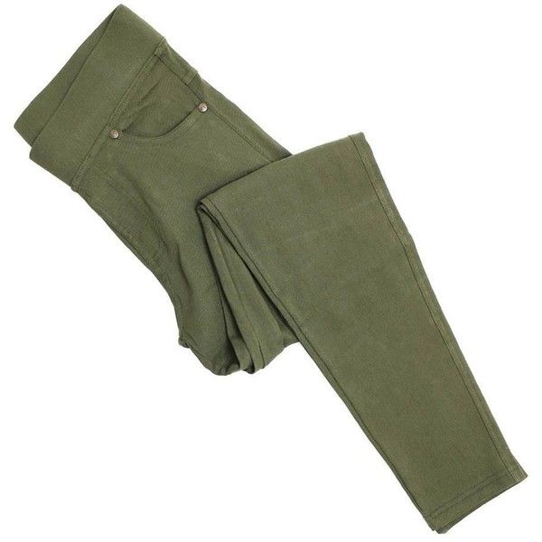 Olive Denim Jeggings ($22) ❤ liked on Polyvore featuring pants, leggings, denim jean leggings, green jeggings, denim leggings, green camo pants and green leggings