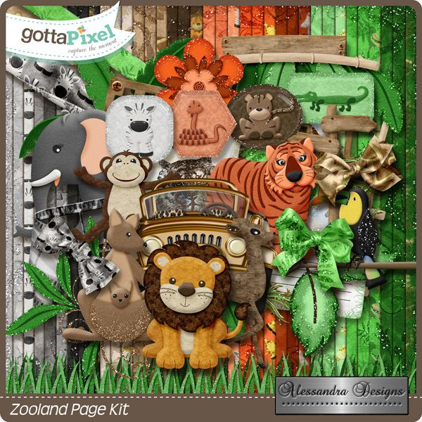 Zooland Page Kit created by Alessandra Designs.