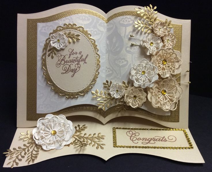Sue Wilson Dies. wedding or golden anniversary book style card. Made by Sue @ crafty urchins.
