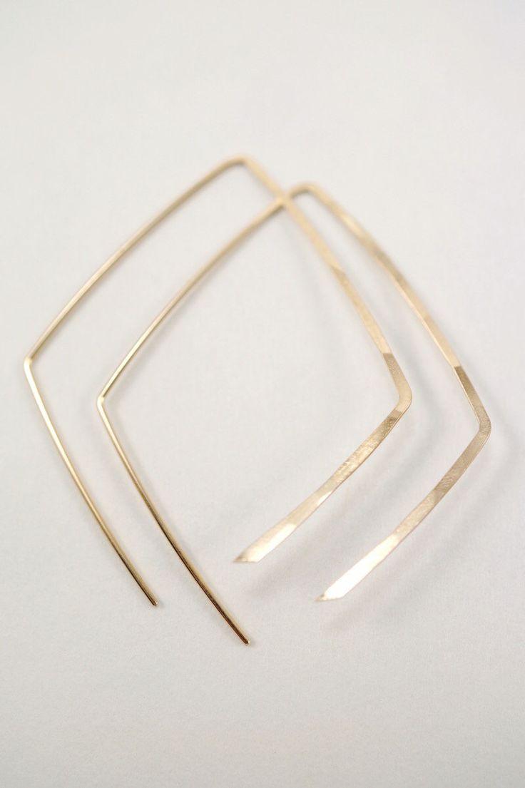 Solid 14k Gold Mini Diamond Open Hoop Earrings, Open Hoop Earrings, Small  Gold Hoop Earrings, Diamond Shape Earrings, Geometric, Modern