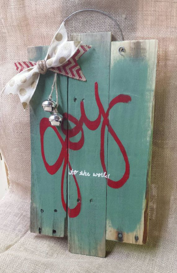 Joy to the world pallet wall hanging holiday by SkrappieHappie