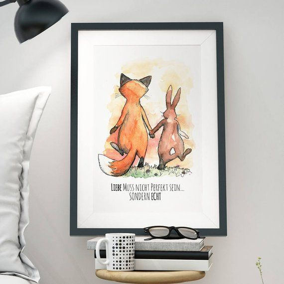 A3 Print Illustration Poster Rabbit Fox Love P10