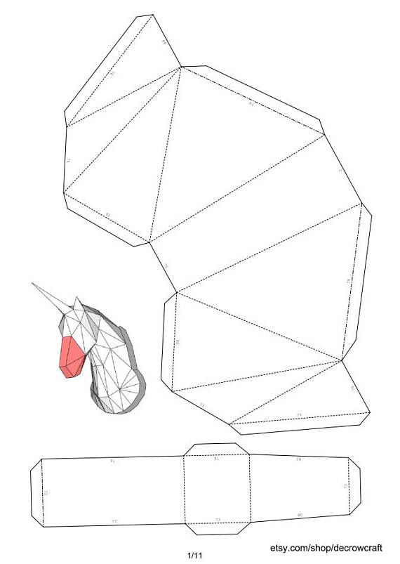 "Unicorn Paper Head DIY Template Wall Trophy 40 cm Dimension ""L"" Papercraft Pepakura PDF Sample Obtain"