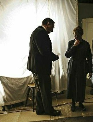 My favorites: Jim Carter and Phyllis Logan (Mr. Carter and Mrs. Hughes) behind the scenes at Downton Abbey.
