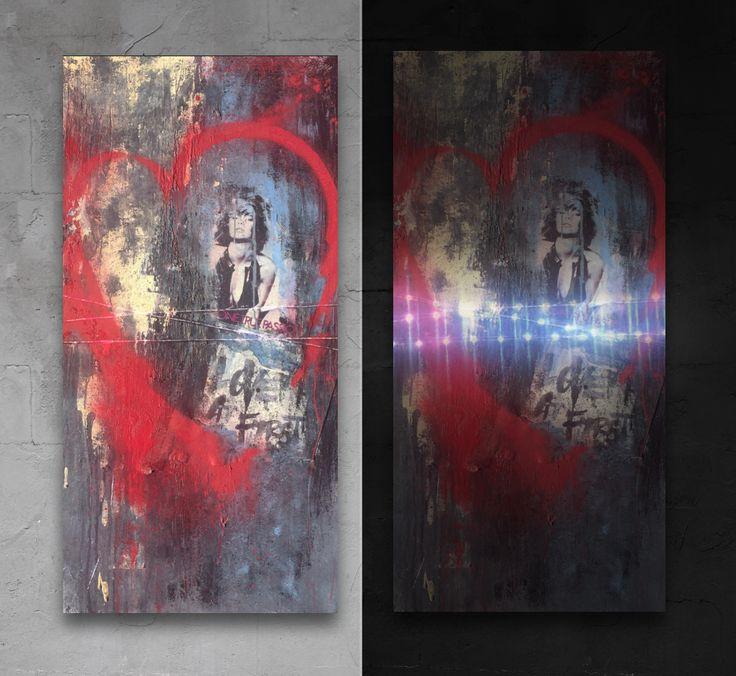 """24"""" x 48"""" acrylic, spray paint and mixed media painting. Vasco Morelli, 2016"""